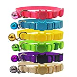 The Creativehome Cat Collars Nylon Soft Colorful Adjustable Breakaway Safety Kitten Collars with Bell 6pcs/set