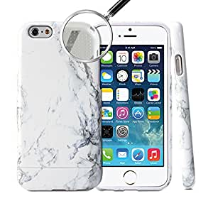 iPhone 6 Case, GMYLE Hybrid Case Slide for iPhone 6 / 6s (4.7 Display) - White Marble Pattern Hybrid TPU Protective Hard Shell Back Case