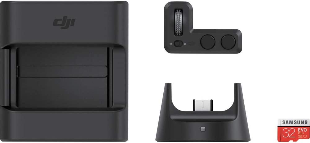 DJI Kit de accesorios para Osmo Pocket-Incluye 1 Controller Wheel, 1 Wireless Module, 1 Accessory Mount, 1 Tarjeta microSD de 32GB-4 Accesorios-Negro