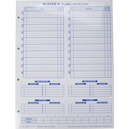 Glover's Scorebooks Dugout Line-Up Charts (11 x 14.5)