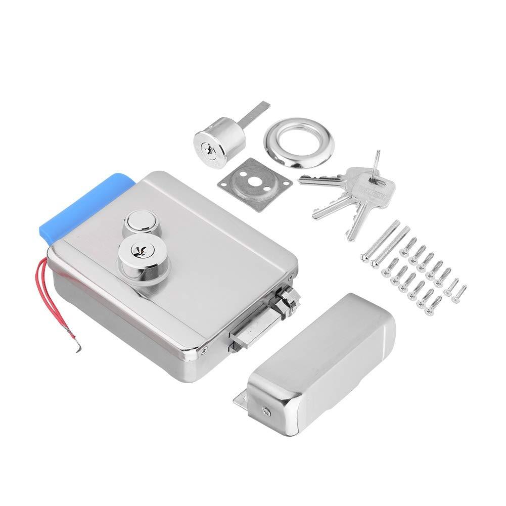 Kafuty Q799 Kit de Sistema de Control de Acceso de Acero Inoxidable para Cerradura de Puerta el/éctrica de Seguridad para Puerta con Cabezales de Doble Cerradura en el Interior y en el Exterior
