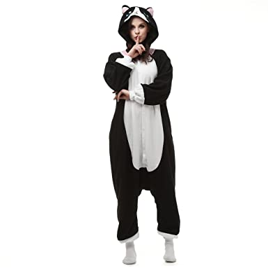 Amazon.com  SHDiBa Unisex Animal Costume Plush Animal Adult Pajamas  Halloween Kigurumi Cosplay Cat Pjs Lounge Wear Sleepsuit  Clothing 8e84d1651