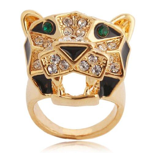 EVER FAITH Teardrop Leopard Clear Austrian Crystal Ring Gold-Tone - Size 9 - Celebrity Couples Halloween