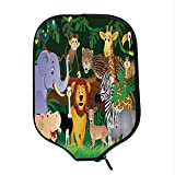 YOLIYANA Zoo Durable Racket Cover,Animals in The Jungle Funny Expressions Exotic Comic Cheer Natural Habitat Illustration for Sandbeach,One Size