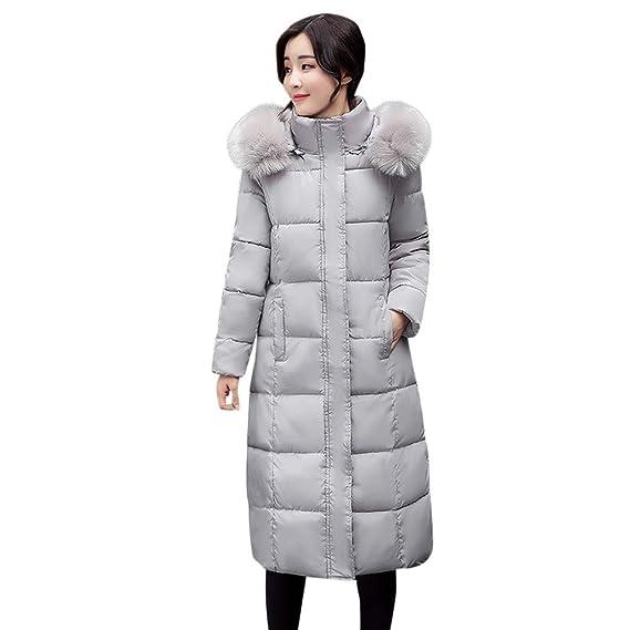 Logobeing Chaquetas Mujer Invierno Cálido Abrigos con Capucha de Piel Abrigos Largos de Algodón Acolchado Abrigos