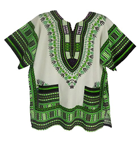 aditional Dashiki Shirt for men and women White and Green M ()
