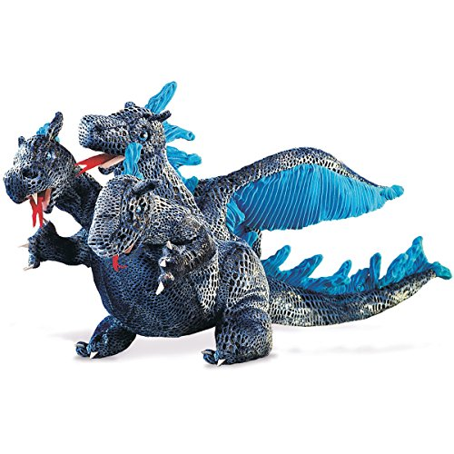 Folkmanis Three-Headed Blue Dragon Hand Puppet (Puppet Dragon Headed Three)