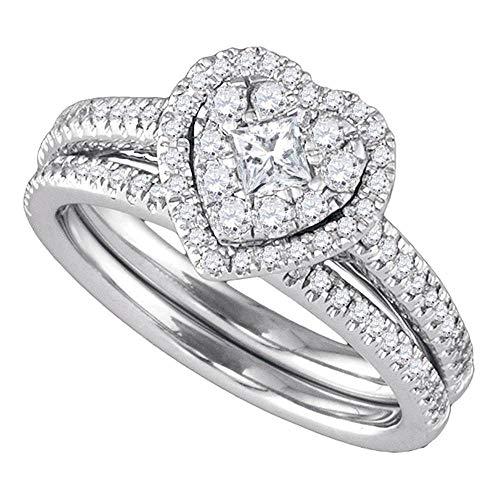 (FB Jewels 14k White Gold Round Princess Diamond Heart-shaped Womens Halo Wedding Bridal Ring Set 3/4 Cttw (I1 clarity; H-I color))