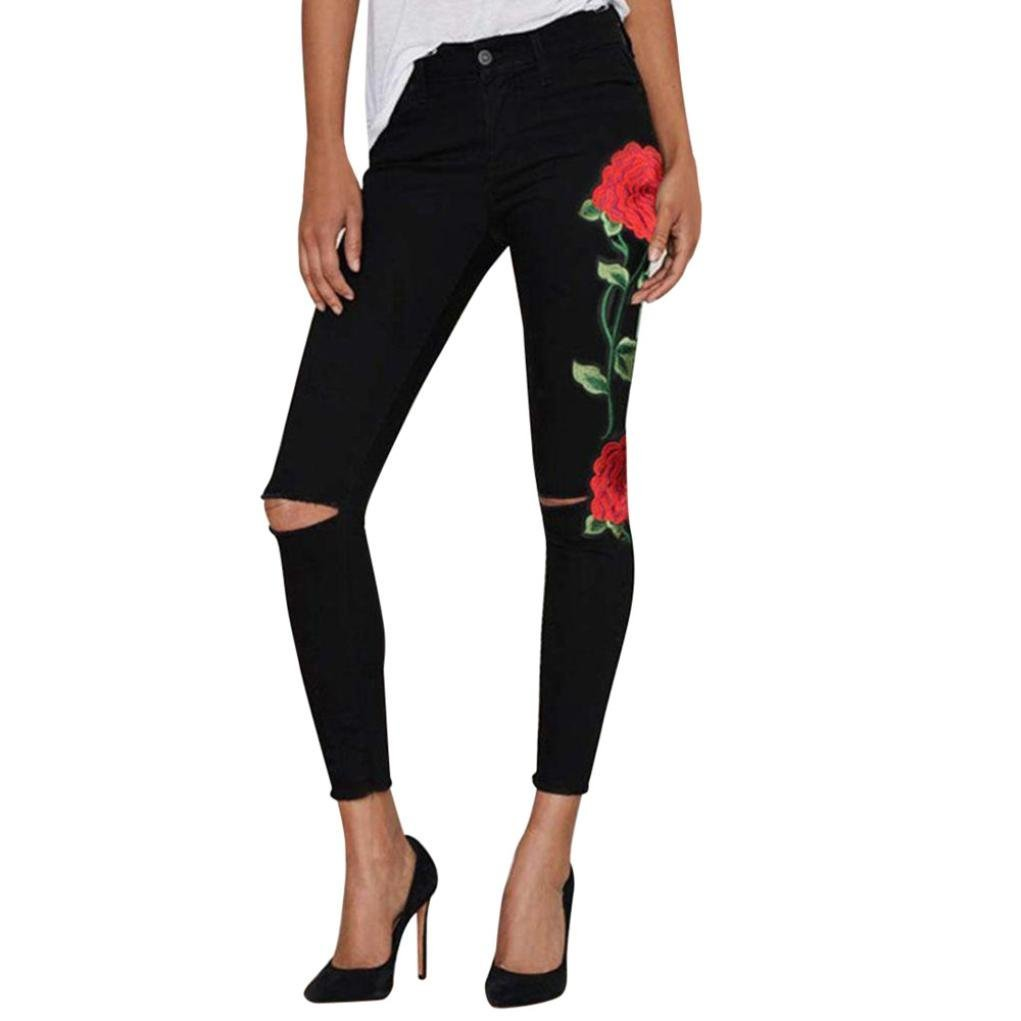 c6ebaa0272b Amazon.com   ManxiVoo Women s Juniors Floral Embroidered Ripped Knee High  Waist Skinny Slim Pencil Trouser (Medium