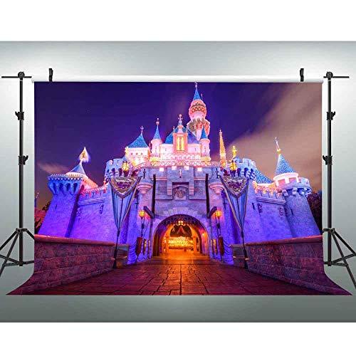 7x5ft Disney Castle Backdrop Disneyland Night Scene Photography Background Disney Themed Party Photo Booth Studio Props LSVV389 -