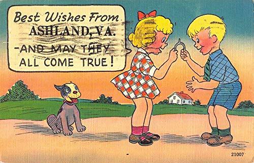 Ashland Virginia Kids Wishbone Dog Comic Antique Postcard K101534