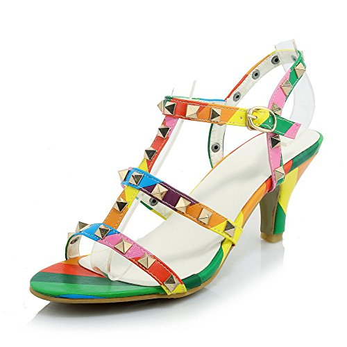 AllhqFashion Women's Open Toe High Heels Buckle Assorted Color Sandals Multicoloured