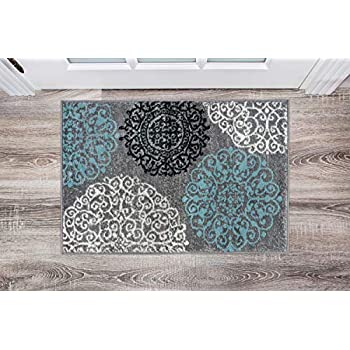 Contemporary Modern Floral Gray 2' x 3' Indoor Soft Area Rug