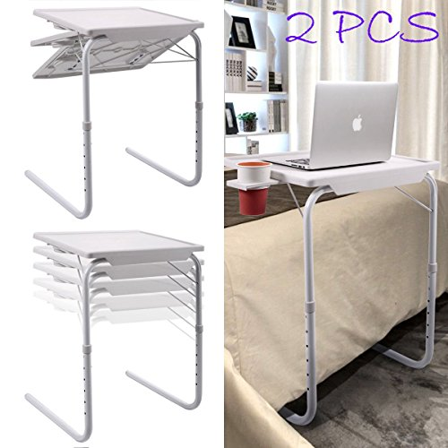 2X Adjustable Tray Foldable Desk Table Folding Table with Cup Tray by Foldable Desk