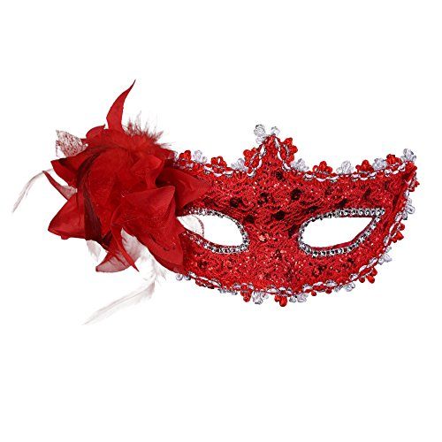 Rehoty Womens Party Masks Masquerade Masks Halloween Ball Prom Mardi Gras Carnival Venetian Mask (Red 2)