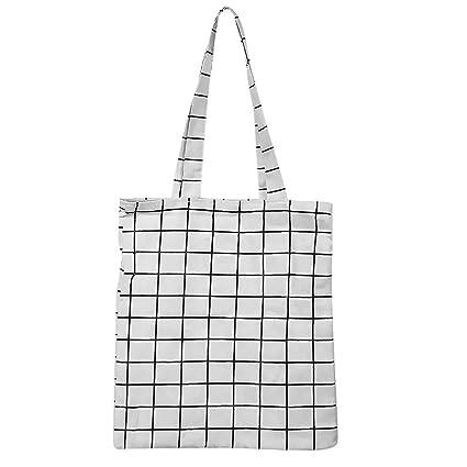 iShineWomen Canvas Original Handmade Single Shoulder Bag Simple Casual Tote  Bag Plaid Bag Handbage Top Handle 840e316d9674b