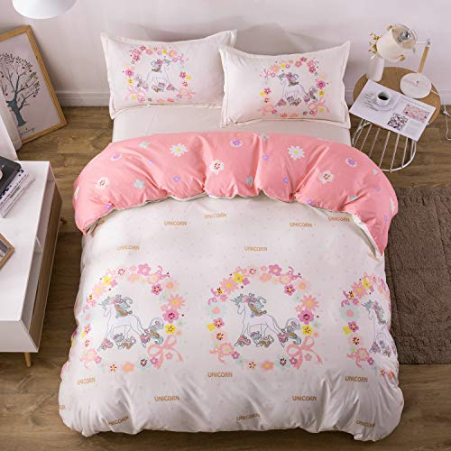 KFZ Girls Magic Unicorn Duvet Cover Set, 3PCS Twin Bedding Set with One Comforter Cover (Without Comforter Insert),2 Pillow Cases, Hypoallergenic and Breathable Princess Bed Sets for Girls (Matching Crib And Sets Twin Bedding)
