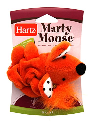 Marty Mouse Stalk and Hunt Play Toy for Cats (Orange Cat Toy)