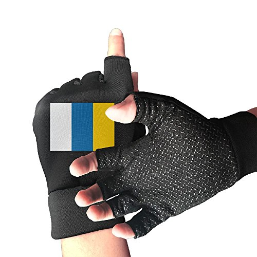 Flag Of The Canary Islands Men And Women Exercise Cycling Half Finger Non-slip Gloves Outdoor Sports Fitness Bike Gloves