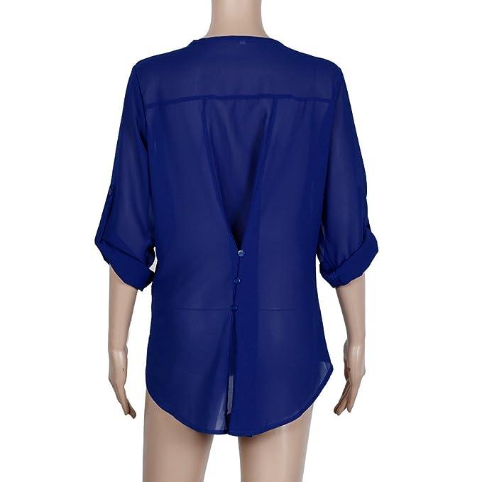 Camisas Mujer Tallas Grandes, TWBB Moda Camiseta sólida Mujer chifón Blusas de Oficina de Manga Larga Lisa de Mujer Elegantes de Vestir Fiesta Camisetas ...