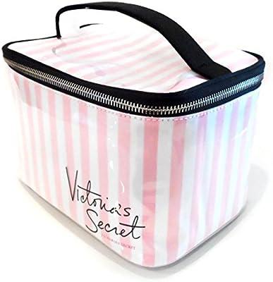 Nueva auténtica Victoria s Secret grande Firma rayas Neceser de maquillaje Neceser: Amazon.es: Belleza
