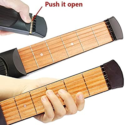 Greenten Pocket Guitar Practice Strings Tool Gadget 6 Fret Portable Finger Guitars Trainer Exercise Chord (Black)