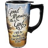 Good Morning This Is God Ceramic Travel Coffee Mug w/ Non-Skid Rubber Bottom