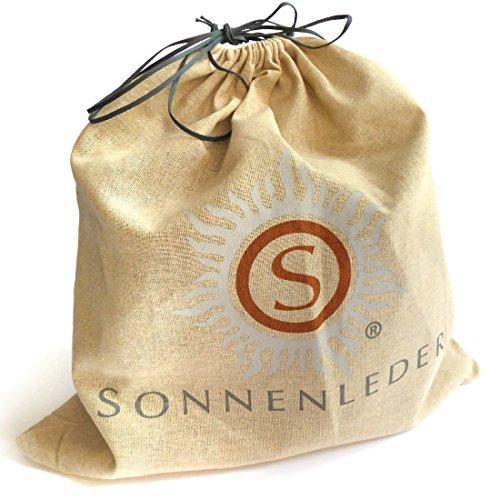 Sonnenleder Siena Sac à main de grande qualité Noir DoublureRouge pompier *Cuir véritable*