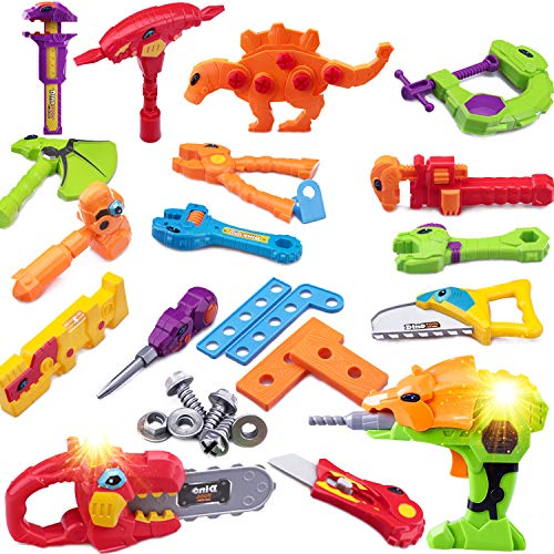 iPlay, iLearn 39pcs Kids Tool Set with Power Drill & Chainsaw, Pretend Construction Tool Toys, Fix It Tool Kit, Dinosaur Toys Gift, Work Bench Play Tools for 2, 3 Years Old Boys Toddlers Children ()