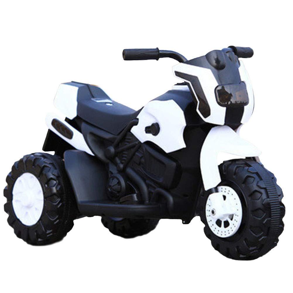 LIWORD Das Elektrische Motorrad der Kinder, 10 Monate Bis 3 Jahre Alt, Volle Lichter des Autos, 6V4.5H Superlast-Dreirad,Weiß