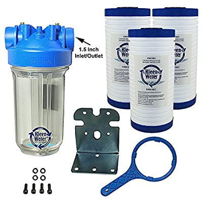 KleenWater Premier Whole House Water Filter System - 1.5 Inch Inlet/Outlet - Transparent Housing - 20 GPM with Bracket, Wrench and Three 4.5 x 9 7/8 Dirt Sediment Cartridges