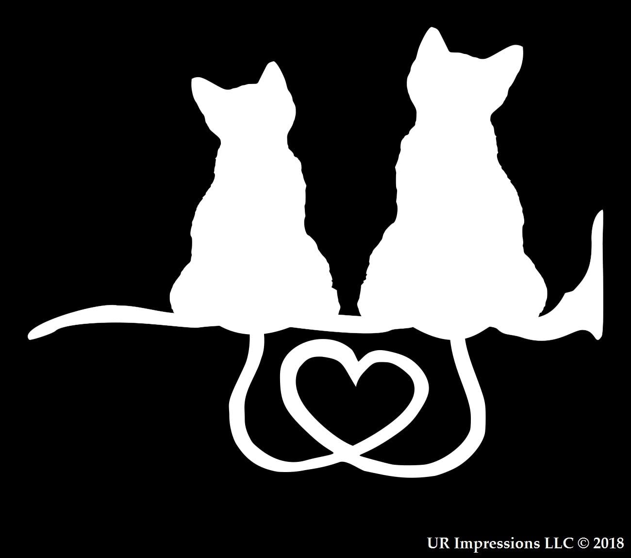 UR Impressions Kitty Cat Heart Tails Decal Vinyl Sticker Graphics for Cars Trucks SUV Vans Walls Windows Laptop|White|5.5 X 3.5 Inch|URI143
