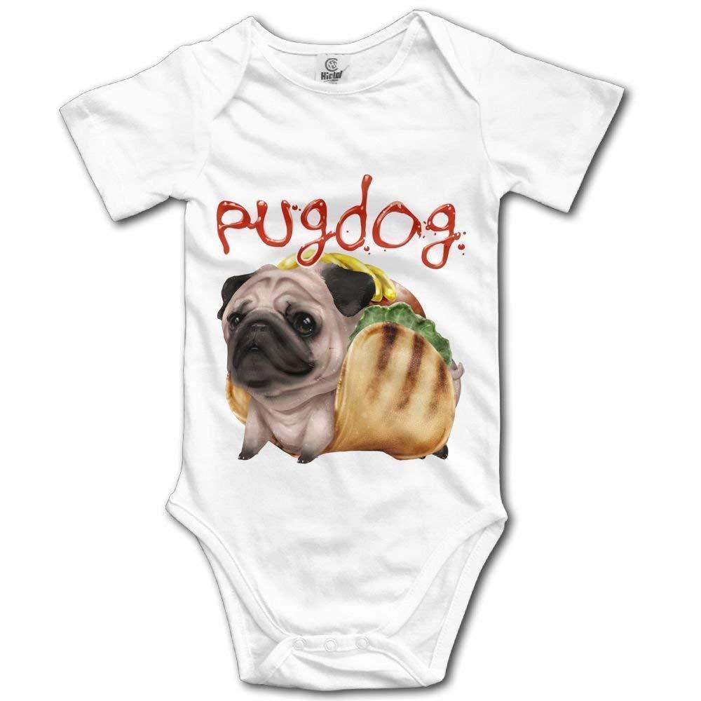 kaskdawjsdwjs Pugdog Infant Baby Short Sleeve Bodysuit Romper