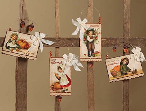 Bethany Lowe Harvest Postcard Fall Thanksgiving Ornament Set of 4 (Decor Fall Lowes)
