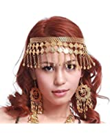 BellyLady Belly Dance Tribal Gold Coins Headband, Gypsy Jewelry, Idea Idea