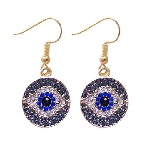Darkey Wang Fashion Women's Unique Turkish Evil Eye Blue Eyes Earrings Bring You Good ()