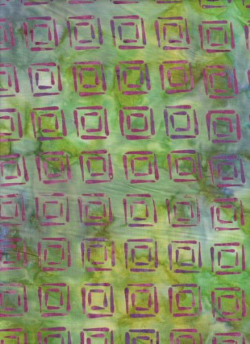 Blank Quilting Sumatra Lime Green with Purple Squares Batik 6557 Seaweed Quilt Fabric 100% Cotton 45