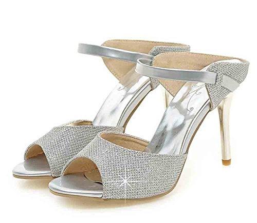 Easemax Mujeres Sexy Glitter Rhinestones Peep Toe Straps High Stiletto Sandalias De Tacón De Plata