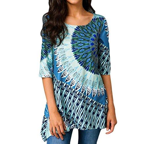 1/2 Top Sleeve (Jinjin Fashion Womens Plus Size Printed Asymmetric 1/2 Sleeve Hem Top Blouse)