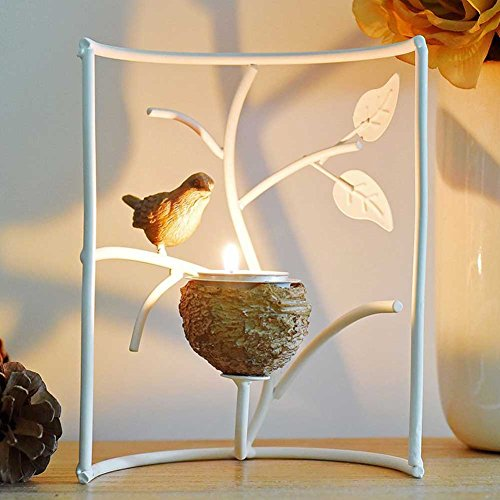 Metallic Votive Candle Holders, Decorative TeaLight Candle Stands for Table, Vintage Home Decor Centerpiece Features Bird, Nest and Tree by Marbrasse (White)