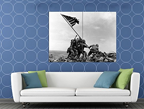 (Raising the Flag on Iwo Jima US Army Troops Soldiers 47x35 Huge Giant Print Poster)