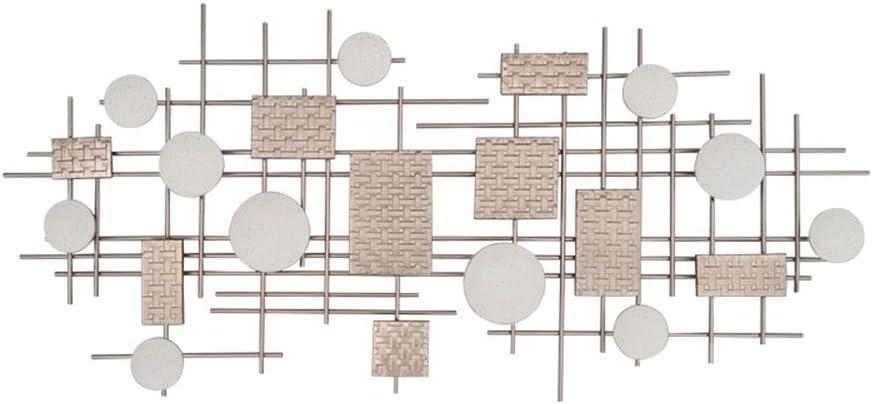 QINQIWDH メタルウォールアート、 三次元の抽象的な幾何学的な錬鉄の壁の装飾、居間のオフィスの壁の彫刻、148x68x3cm