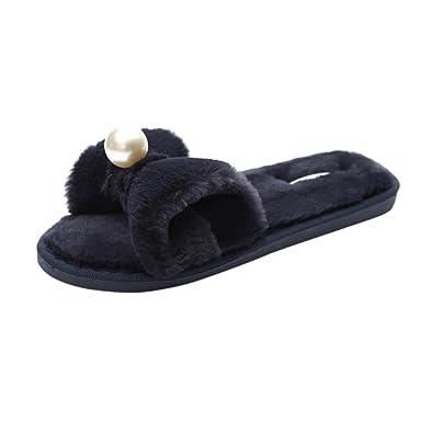 5ee1a489a7df Rawdah Claquette Femme Glissez sur Les Diapositives Fluffy en Fausse  Fourrure Plat Slipper Flip Flop Sandal