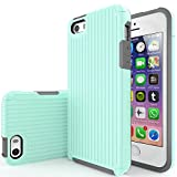 mint iphone 5s case protective - iPhone SE Case, Team Luxury [SUITCASE] Series TPU + PC Ultra Defender Protective Case for Apple iPhone 5/5S/SE (Mint/ Gray)