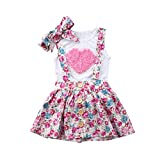 Toddler Baby Girls Sister 3D Floral Heart Vest Short Ruffle Lace Dress Set with Headband 3PCS (Big Sister, 5-6 Years)