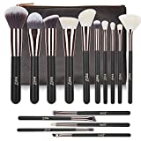 Makeup Brushes MSQ 15pcs Pro Rose Gold Makeup Brush Set with Bag & Natural Hair (Foundation Brush, Powder Brush, Eyeshadow Brush) Best for Valentine's Day Gifts - Rose Gold