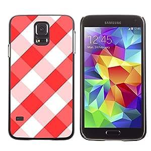 GIFT CHOICE / Teléfono Estuche protector Duro Cáscara Funda Cubierta Caso / Hard Case for Samsung Galaxy S5 // White Red Tablecloth Checkered Pattern //