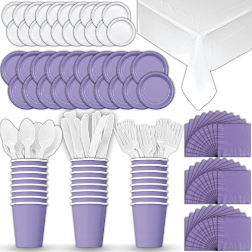 Paper Tableware Set for 24 - Lavender & White - Dinner and Dessert Plates, Cups, Napkins, Cutlery (Spoons, Forks, Knives), and Tablecloths - Full Two-Tone Party Supplies Pack