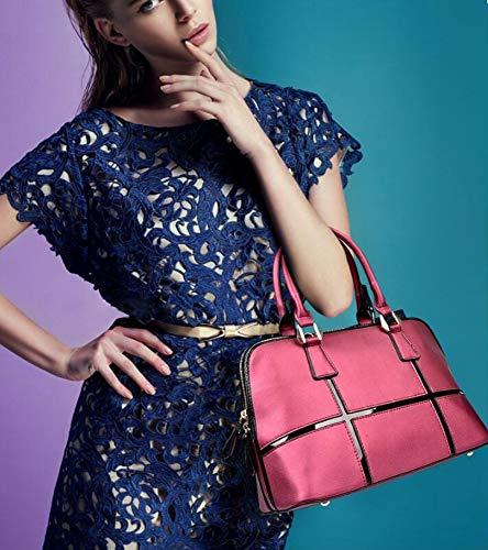 Fashion Handbag Baotou Stitching Leather Shell Layer Bag Female Cowhide Bag Woman Lady Hongge B w1tSgqq