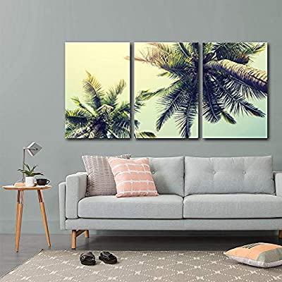 Palm Tree on Tropical Beach Wall Decor x3...